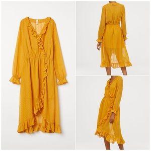 H&m Calf-length, V-neck wrap over dress